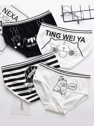 Picture of 5 Pack Women's Brief Set Comfy Contrast Color Cute Cartoon Cat Pattern Underwear Set