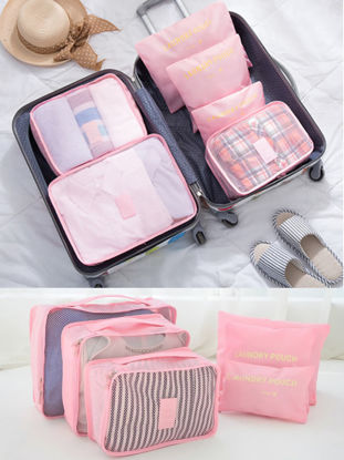 Picture of 6 Pcs Storage Bags Set Solid Color Portable Useful Travel Sorting Bags