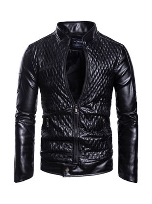 Picture of Men's Personality Synthetic Leather Jacket Long Sleeve Fashion Stand Collar Jacket