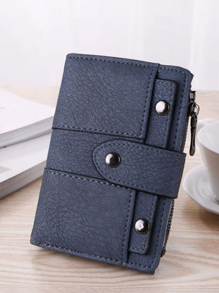 Picture of Women's Purse Stylish Chic Rivet 3 Folds Preppy Fashion Wallet