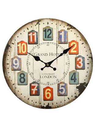 Picture of Wall Clock Vintage Creative Round Wood Clock Decoration Wall Decor