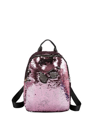 Picture of Women's Backpack Fashion Solid Color Sequin Design High Capacity Outdoor Bag