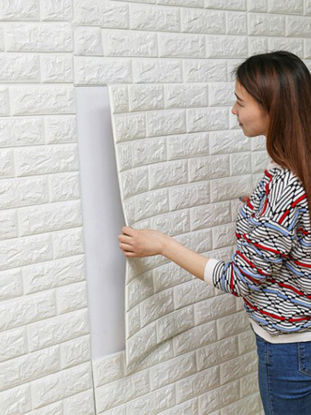 Picture of 1 Pc Wall Sticker 3D Bricks Pattern Solid Self-adhesive Supple Wall Decor