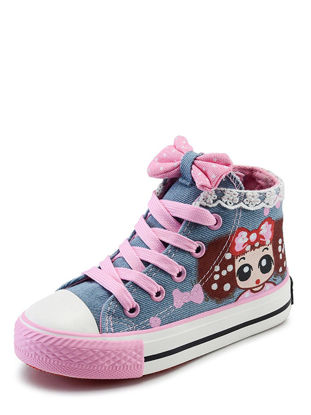 Picture of Girl's Canvas Shoes Sweet Princess Bow Knot Lace High Top Casual Shoes