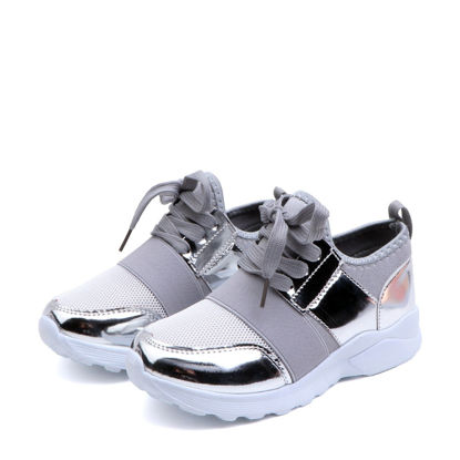 Picture of Kids Casual Shoes Patchwork Breathable Lacing Comfy Shoes