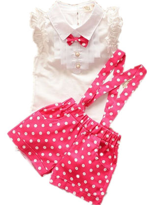 Picture of Girl's Clothes Sleeveless Bow Turn Down Collar Top And Polka Dot Overalls Set