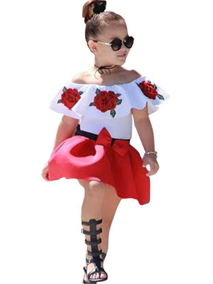 Picture of Girl's Skirts Set Off Shoulder Flowers Embroidered Appliques Bow Decor Skirts Set