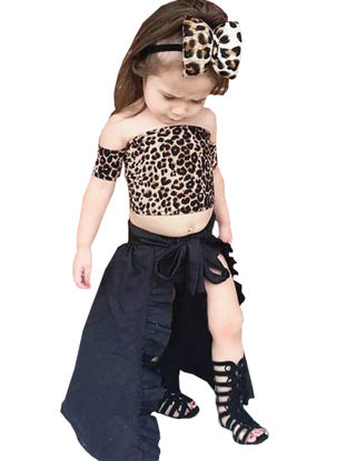 Picture of Girl's 3 Pcs Set Fashion Leopard Pattern Slash Neck Stylish Design All Match Set