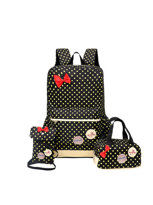 Picture of Girl's Backpack Set 3 Pcs Polka Dot Cute Lightweight School Bags