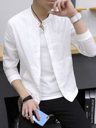 Picture of Men's Sun Protective Jackets Solid Color Simple Comfortable Zipper Jacket