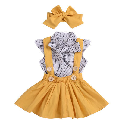 Picture of 3Pcs Baby Girl's Set Voguish Simple Dots Pattern Sleeveless Shirt And Skirt And Bow Set