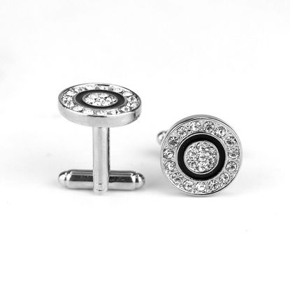Picture of Men's Cufflinks Round Shape Rhinestones Inlay Exquisite Fashion Cuff Buttons Accessory