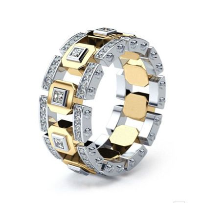 Picture of Men's Ring Rhinestone Inalay Hollow Out Design Ring Accessory