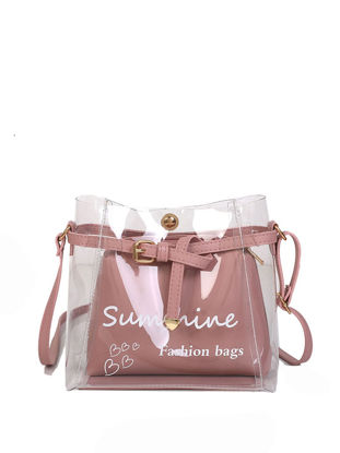 Picture of 2Pcs Women's Crossbody Bag Set Trendy Letter Printed Transparent Chic Lady Bags