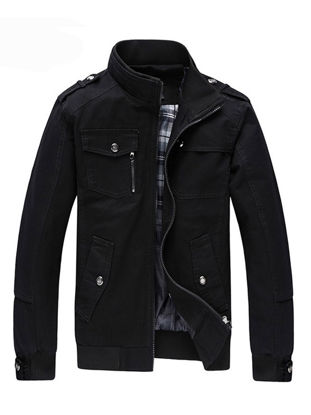 Picture of Men's Casual Jacket Zipper Solid Color Stand Collar Anti-Friction Jacket