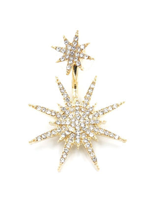 Picture of 1Pc Women's Ear Stud Snowflake Shaped All Match Rhinestone Studded Accessory