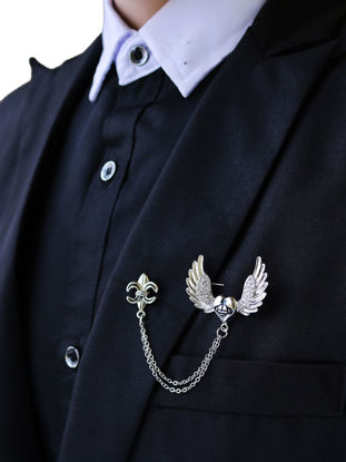 Picture of Men's Brooch Stylish Alloy Plating Rhinestone Love Heart Plating Jewelry Accessory