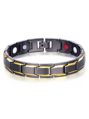 Picture of Men's Accessories Fashion Health Energy Bracelet Men's 316L Stainless Steel Bio Magnetic Gold Plated Jewelry