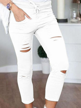 Picture of Women's Pencil Pants Hole Decoration Solid Color Skinny Casual Pants