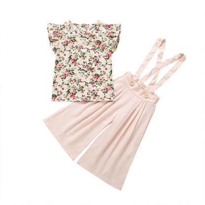 Picture of 2Pcs Girl's Sweet Outfits Floral Print Cap Sleeve Shirt Top And Wide Leg Suspender Pants Set