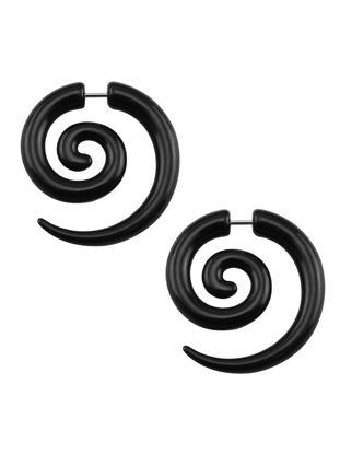 Picture of Men's Earrings Fashion Stylish Punk Acrylic Spiral Studs Earrings