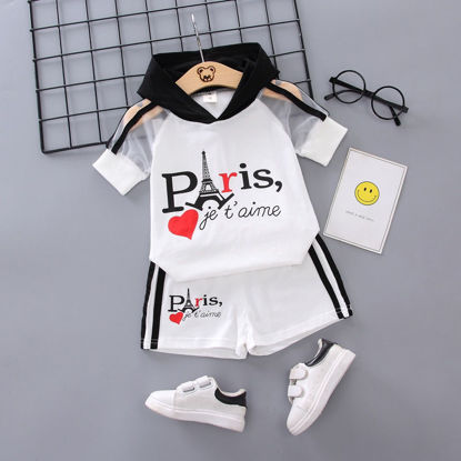 Picture of Girl's 2Pcs Shorts Set Short Sleeve Hooded Letter Printed Cute Suit
