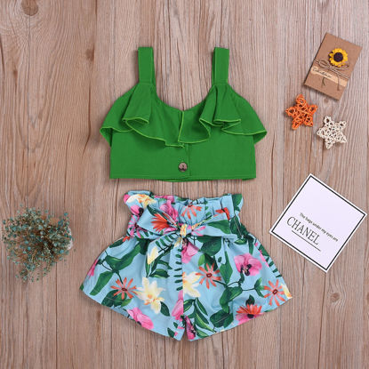 Picture of Girl's 2Pcs Casual Suit Solid Color Ruffle Top Floral Print Shorts Set