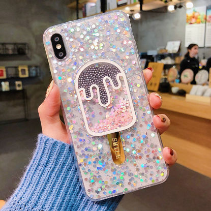 Picture of iPhone XS/XR/XS Max/X/8/8 Plus/7/7 Plus/6/6S/6 Plus/6S Plus Back Cover Glitter Popsicle Pattern TPU Phone Case