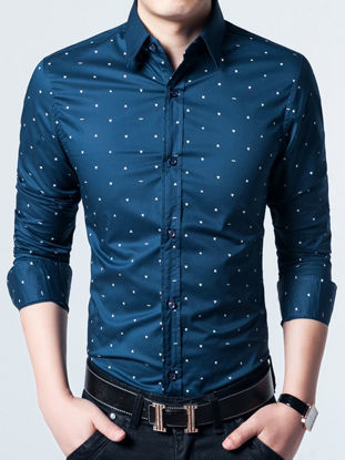 Picture of Men's Shirt Fashion Simple Slim Long Sleeve Plus Size Dot Shirt