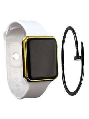 Picture of 2 Pcs Men's Sporty Watch Set High Quality LED Electronic Watch with Bracelet Accessory