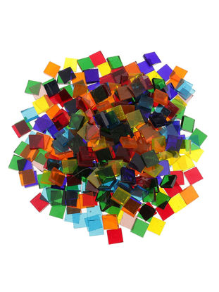 Picture of 200Pcs Glass Mosaic Tiles Assorted Color Square Clear DIY Crafts Mosaic Blocks