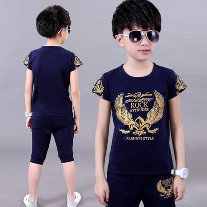 Picture of 2 Pcs Boy's Cropped Pants Set Wing Pattern Short Sleeve T Shirt Comfy Clothing