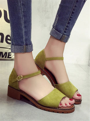 Picture of Women's Sandals Solid Color Peep Toe Buckled Shoes
