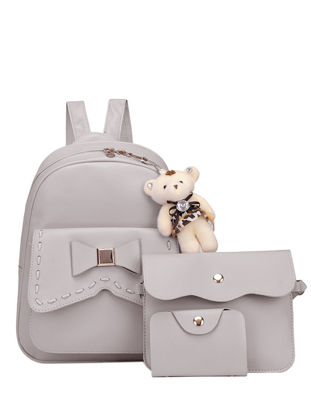 Picture of 4Pcs Women's Backpack Bowknot Patched Brief Design All Match Bags Set