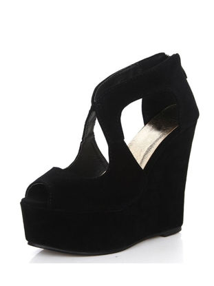 Picture of Women's Wedge Sandals Solid Color Platform Peep Toe Shoes