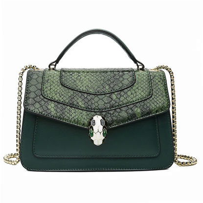 Picture of Women's Shoulder Bag Contrast Color Patchwork Casual Chain Bag