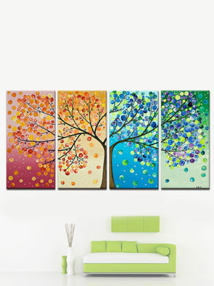 Picture of 4Pcs Wall Painting Colorful Tree Artistic Home Living Room Background Decoration