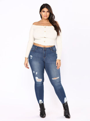 Picture of Women's Plus Size Jeans High Waist Hollow Out Frayed Slim Jeans