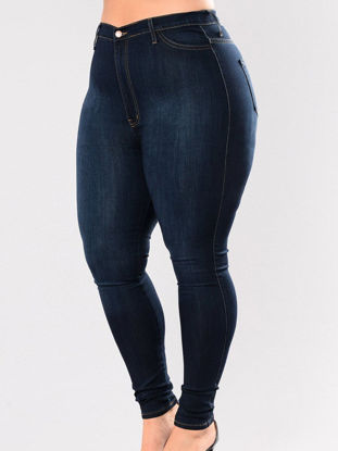 Picture of Women's Plus Size Jeans Solid Color High Waist Slim Jeans