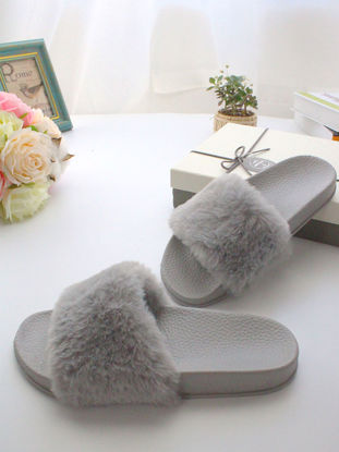 Picture of One Pair Women's Slippers Fluffy Design Solid Color Simple Style Platform Indoor Slippers