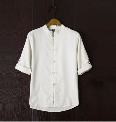 Picture of Zhongshan men's clothing large size linen linen casual shirt Chinese cotton shirt Tang suit