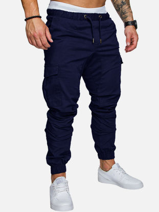 Picture of Men's Casual Pants Fashion Solid Color Simple Slim Full Long Trousers