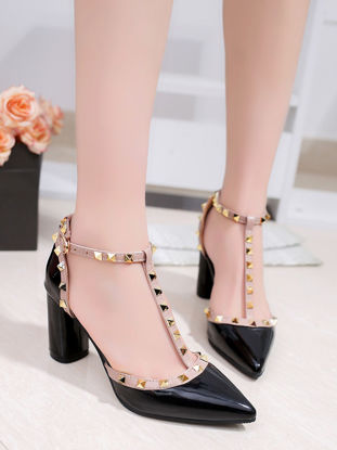 Picture of Women's Sandals Closed Toe Rivet Thick Heel Solid Color Sandals