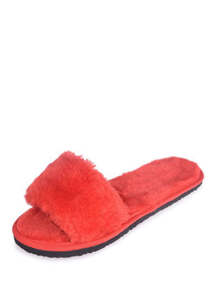 Picture of Women's Open Toe Slippers Solid Fluffy Sweet Slippers