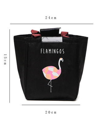 Picture of 1Pc Lunch Bag Cartoon Flamingos Pattern Waterproof Portable Insulated Bag