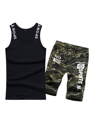 Picture of Men's Vest Sets 2Pcs Sleeveless Print Stylish Breathable Sets