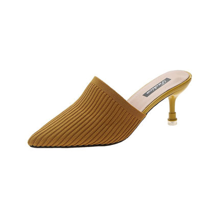 Picture of Women's Pointed Toe Slippers Solid Color Heeled Shoes