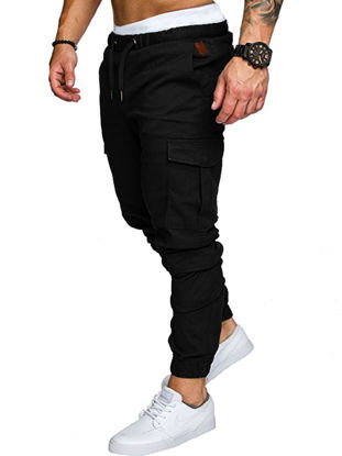 Picture of Men's Casual Pants Top Fashion Sports Style Elastic Waist Solid Color Pants
