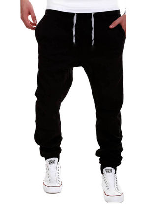 Picture of Men's Pants Stylish Drawstring Design Solid Color Comfy Pants
