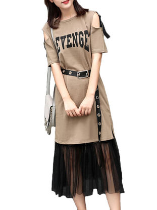 Picture of Women's Two-Piece Set Hollow Shoulder Short Sleeve Tshirt Dress Gauze Skirt Suit